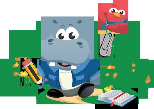 Hipopotam i czerwony ptak