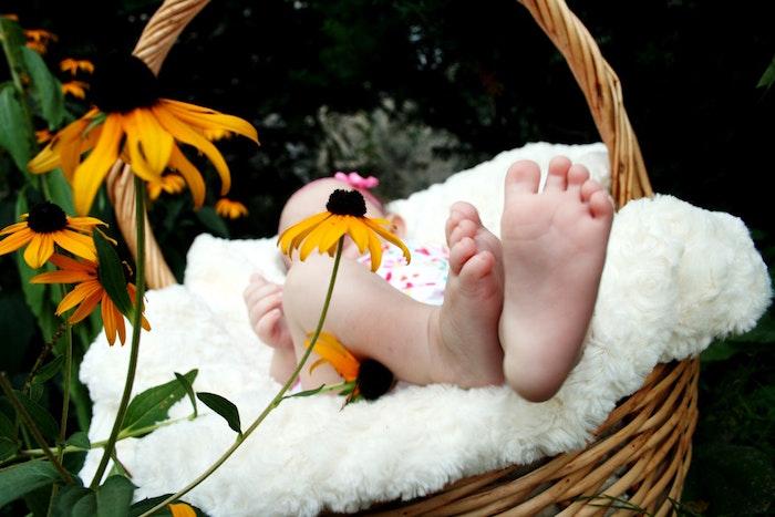 Niemowlę leżące wśród kwiatów